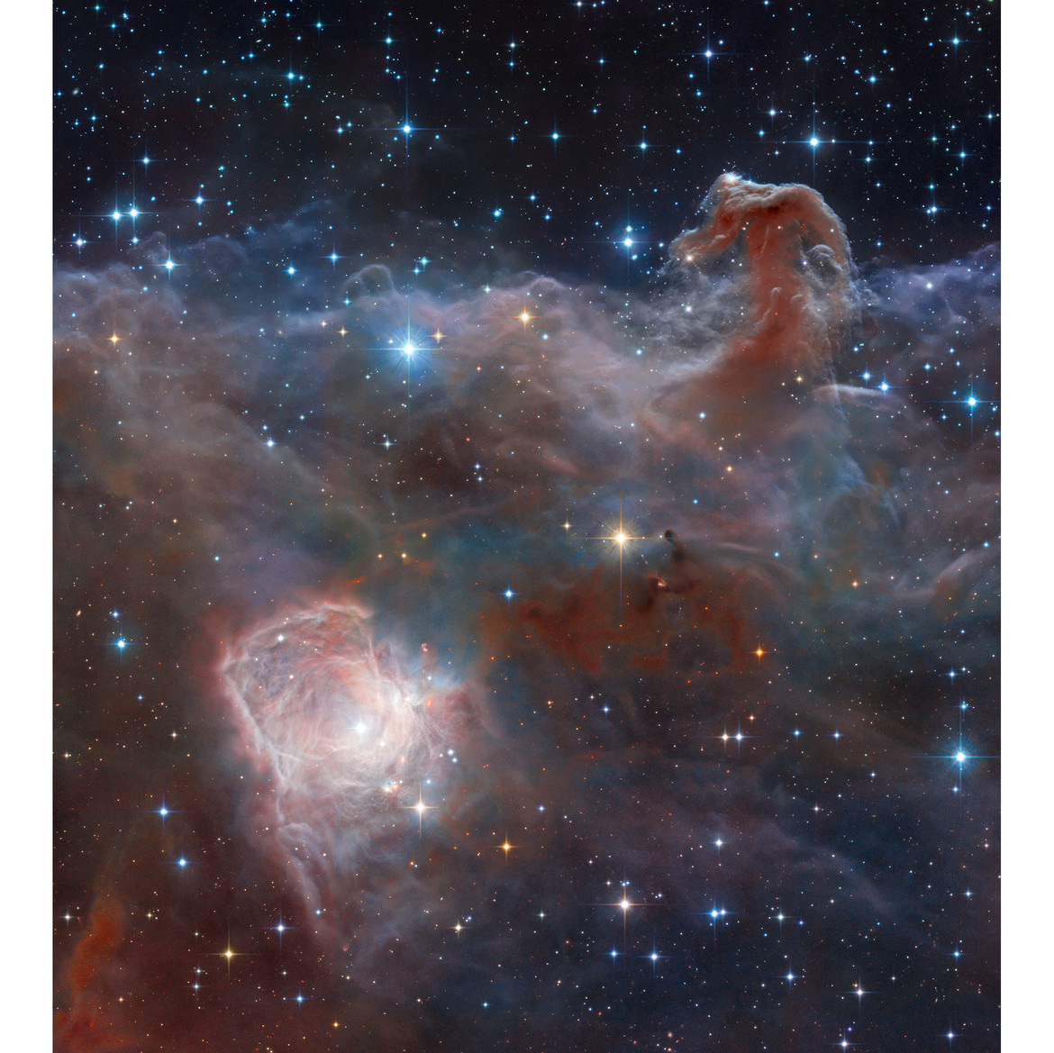 A remastered mosica of the VISTA and Hubble infrared views of the Horsehead and Flame Nebulae. Credit: ESO/J. Emerson/VISTA/Cambridge Astronomical Survey Unit  & HLA/Hubble Heritage Team (STScI/AURA) & Robert Gendler