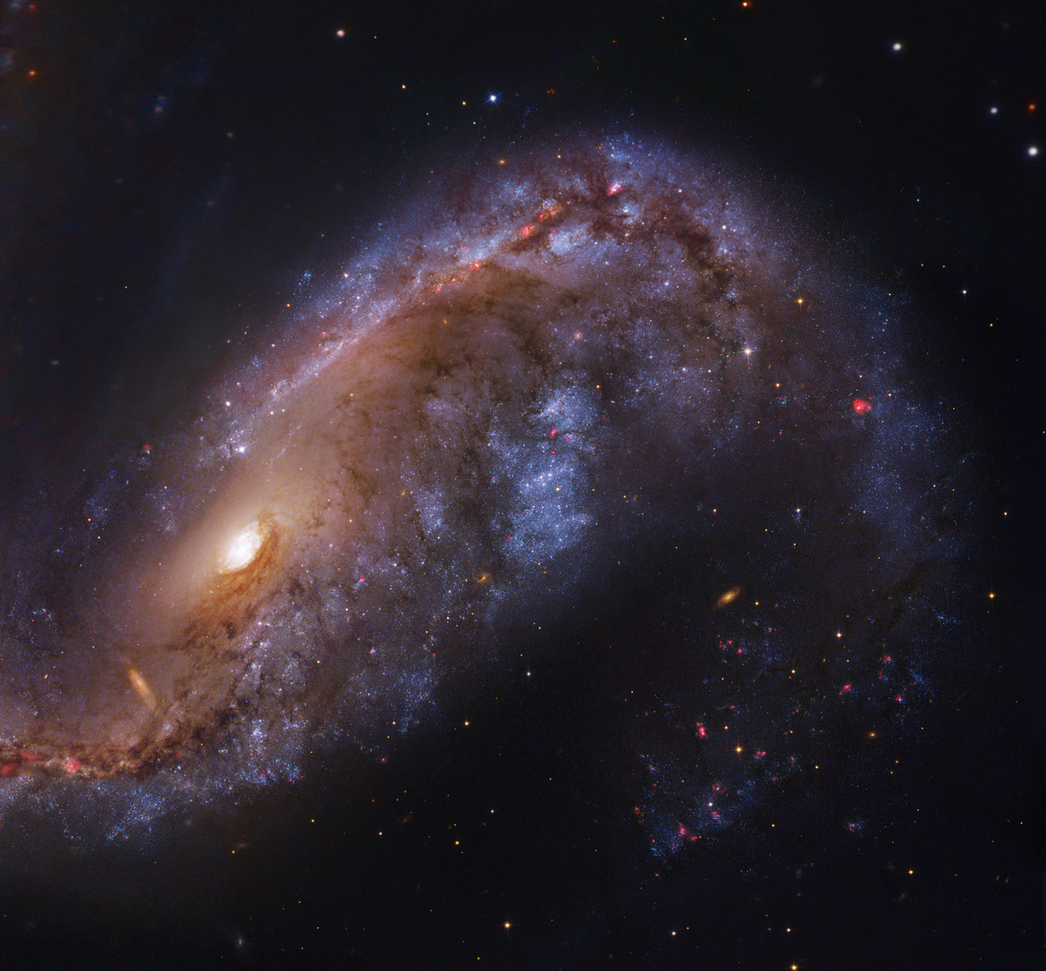 The inner regions of the Meathook Galaxy, NGC 2442, using observations from Hubble and a 2.2 meter telescope in Chile.\