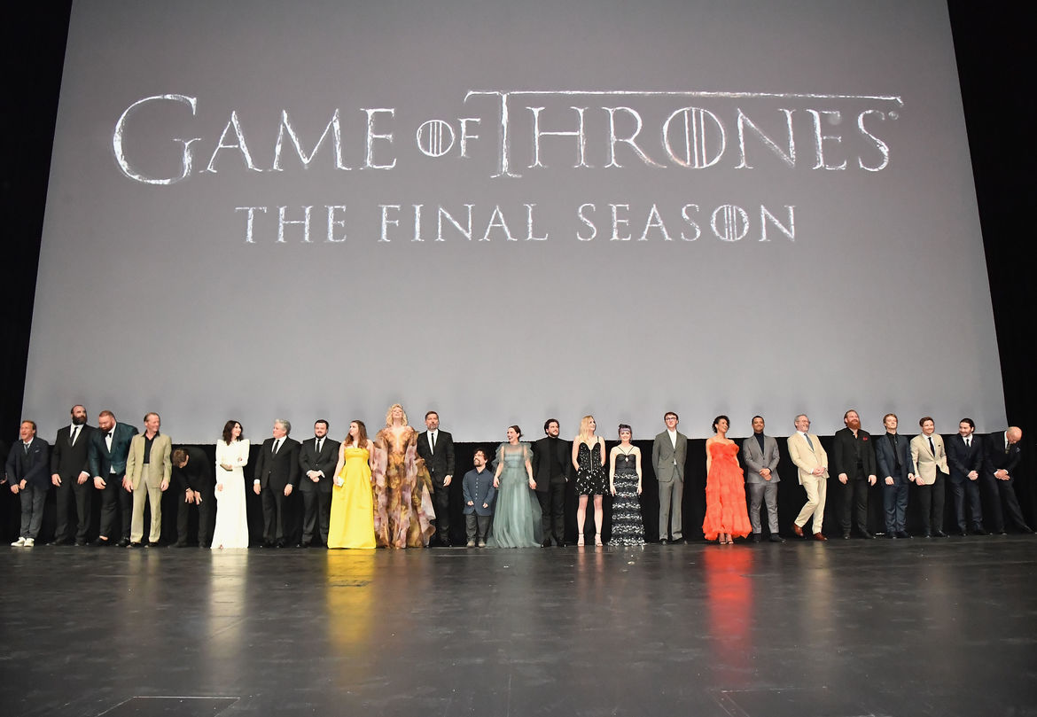 The full cast appears onstage at the Game of Thrones Season 8 premiere