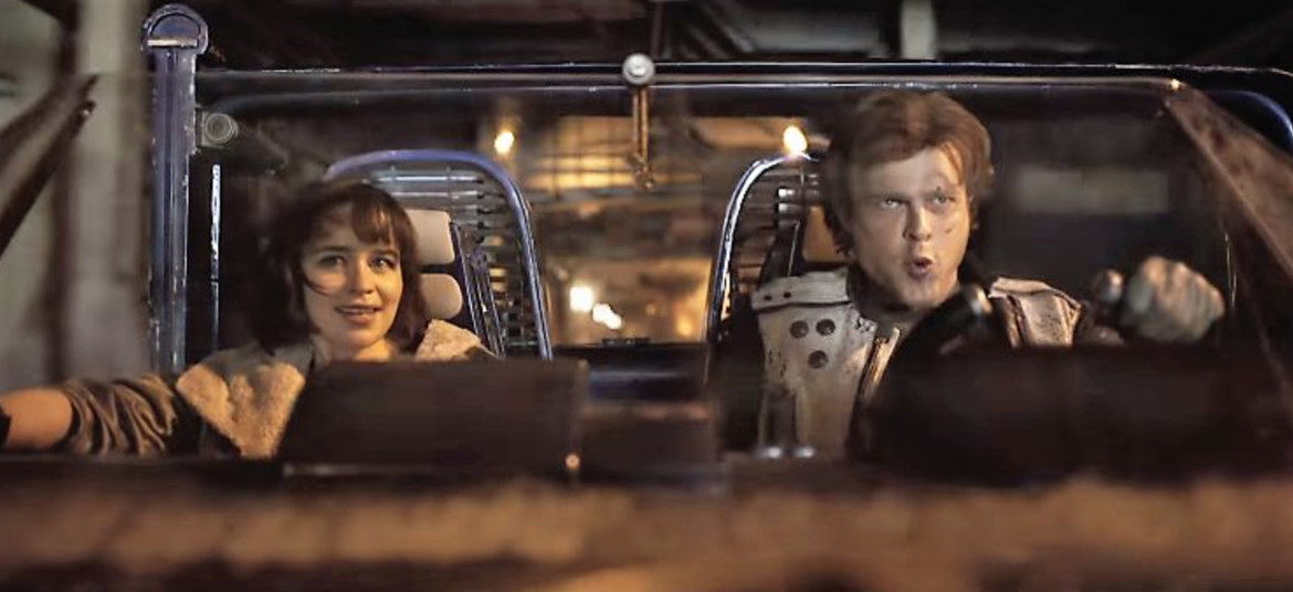 Solo: A Star Wars Story- Han and Qi'ra in speeder