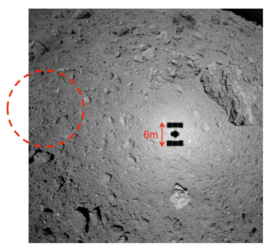 The shadow of Hayabusa-2 over the surface of the asteroid Ryugu can be seen in this image taken from a height of about 21 meters. The dashed circle is the planned landing spot.