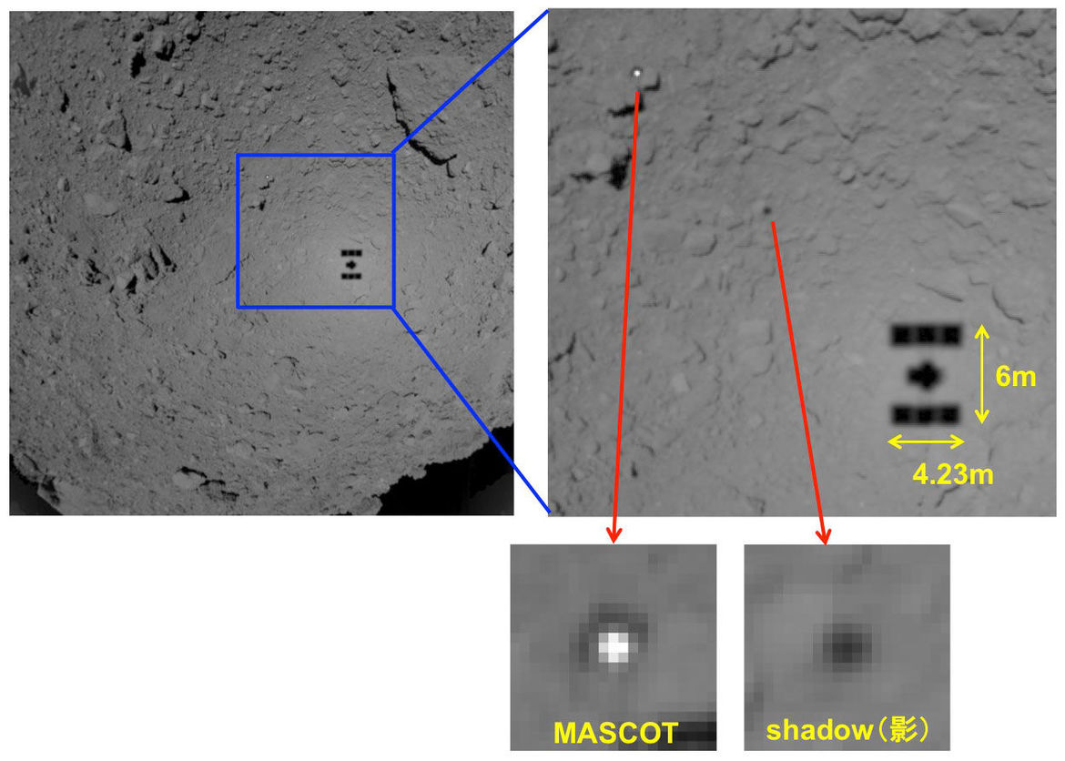 Image from Hayabusa-2 showing the shadow of the spacecraft on the asteroid Ryugu, as well as the lander MASCOT and its shadow.
