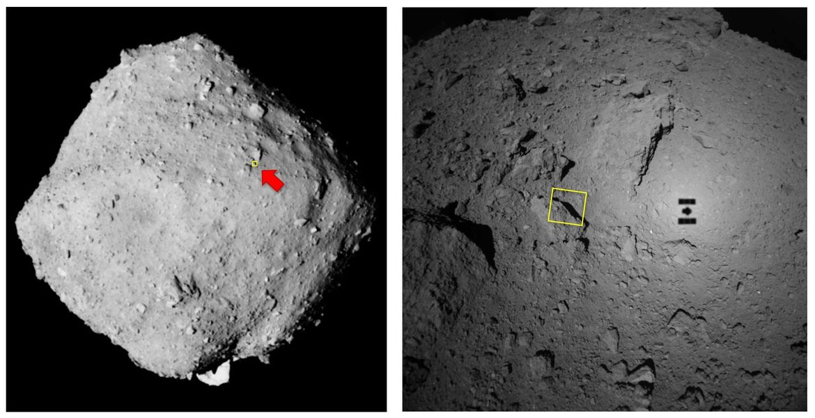 Wide angle (left) and medium angle (right) views of Ryugu, showing the context for the high-res image. In both shots, the yellow box is the outline of the high-res image.