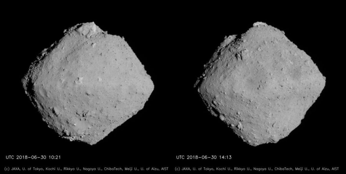 Very nearly the entire surface the small asteroid Ryugu, taken a few hours apart on June 30, 2018.