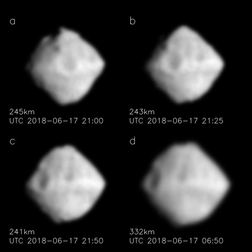Four images of Ryugu from Hayabusa show the asteroid's rotation. The subimages are arrenged in order of rotation, not time (the last image was taken first), and scaled to be the same size. Credit: JAXA