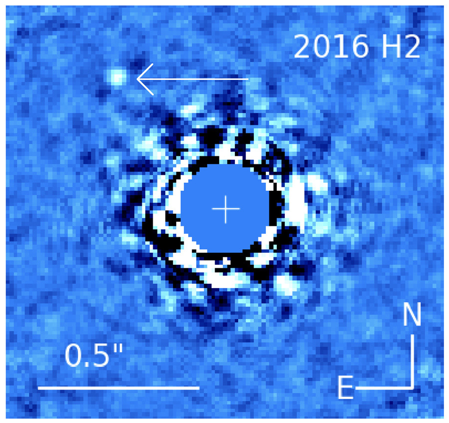 The brown dwarf HD 4113C can be seen to the upper left in this infrared image of the star HD 4113A. It's existence was suspected for nearly ten years, and now it's been seen. Credit: Cheetham et al.