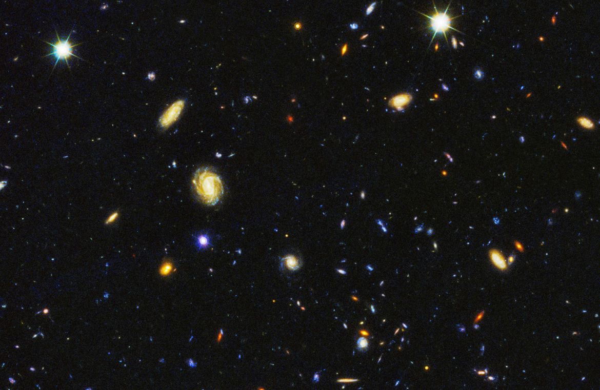 Detail of the HDUV survey (northern field) showing galaxies in the process of maturing. Credit: NASA, ESA, P. Oesch (University of Geneva), and M. Montes (University of New South Wales)