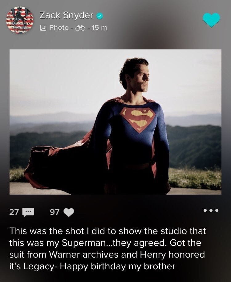 Henry Cavill in classic Superman suit