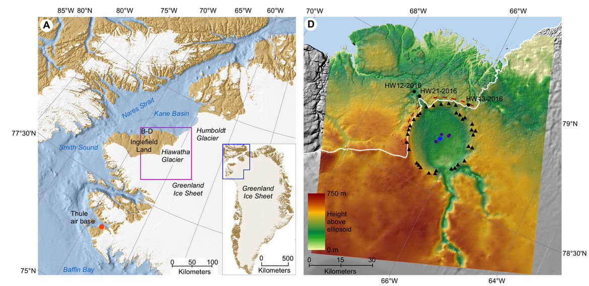 A map of the area around the Hiawatha impact crater in Greenland (left) shows its location, and a topographic map based on radar (right) clearly shows the crater itself in the bedrock. Credit: Kjær et al., Science Advances