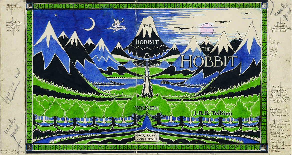 The Hobbit dust jacket with notes – Morgan Library Tolkien exhibit