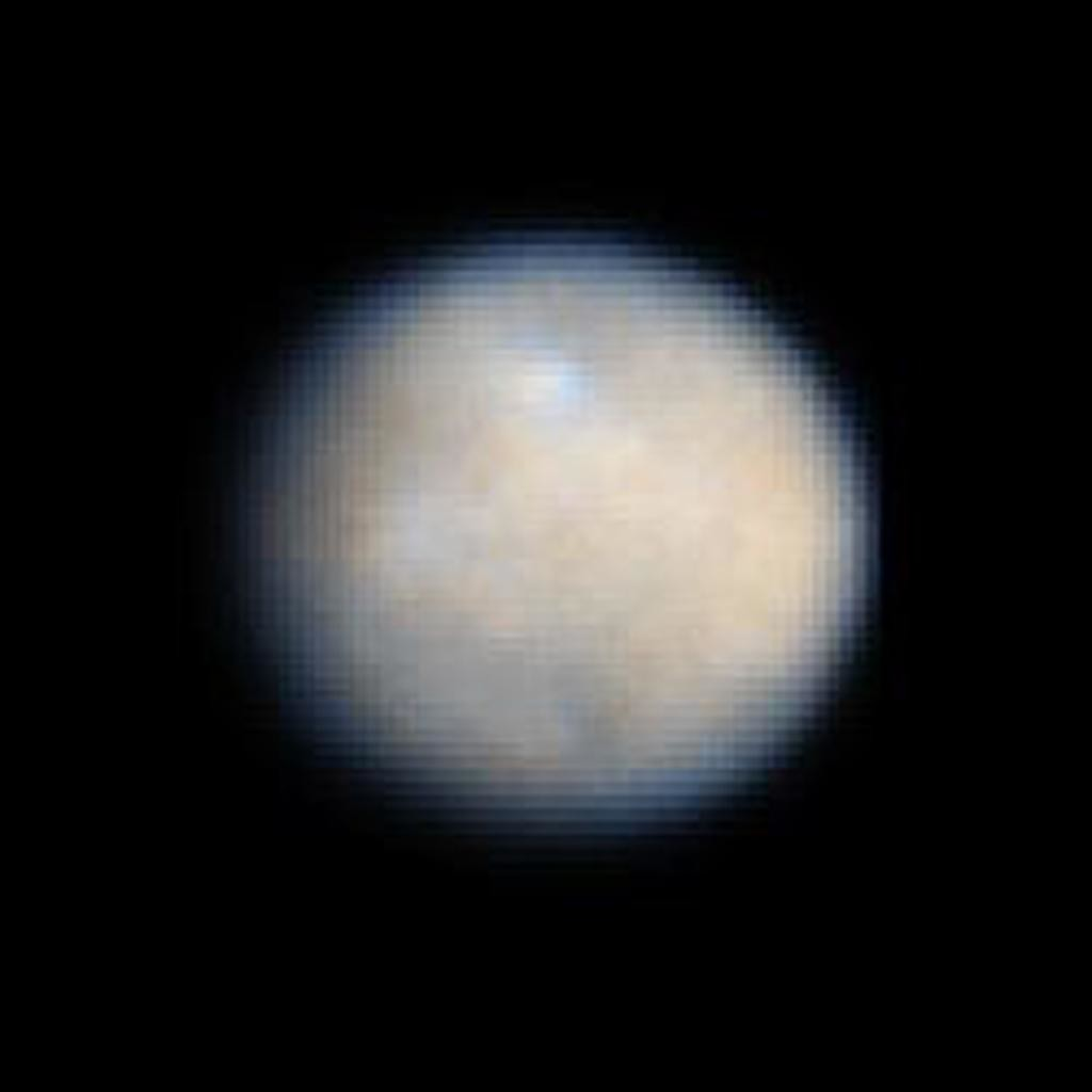 This is the highest-resolution image of Ceres from Earth, taken using Hubble Space Telescope in 2003/2004.