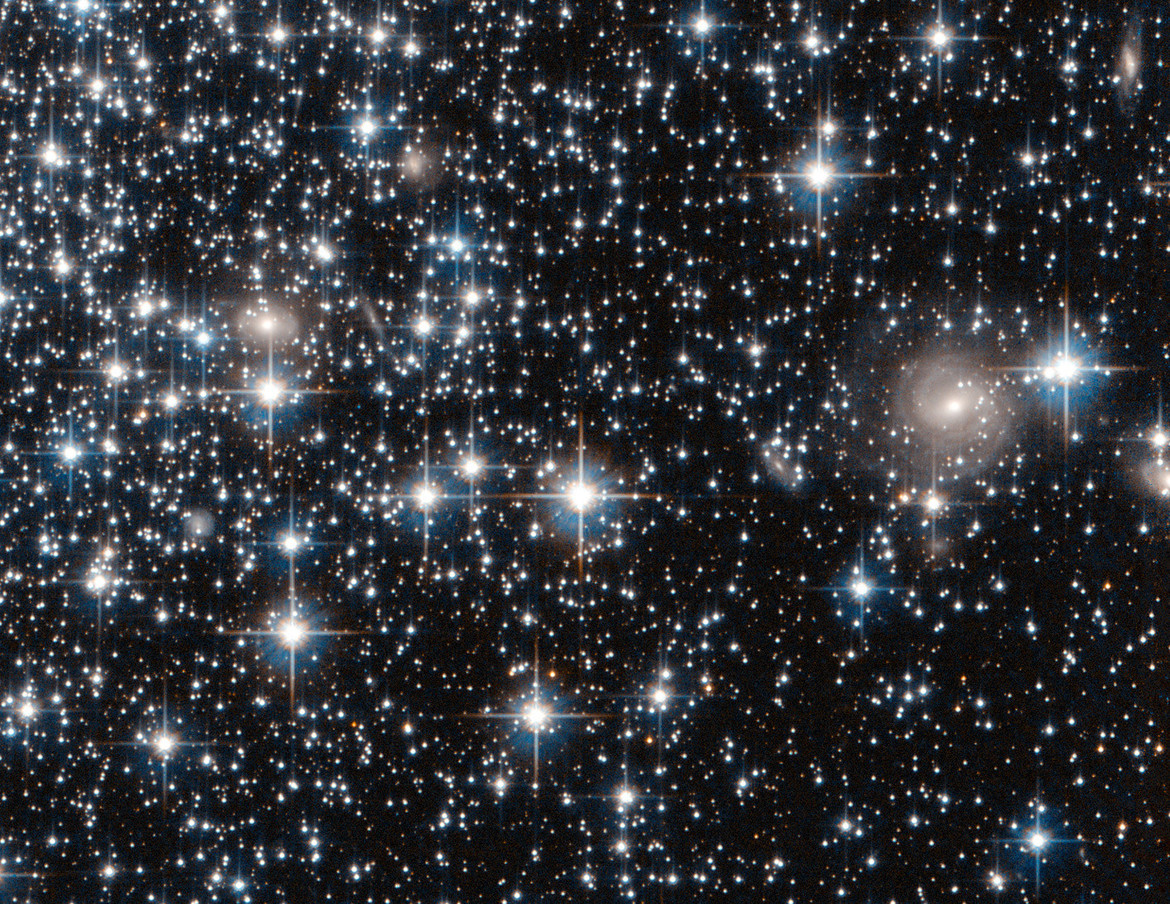 Detail of the Hubble image of globular cluster IC 4499 shows many faint stars, and even distant background galaxies!Credit:ESA / Hubble / NASA