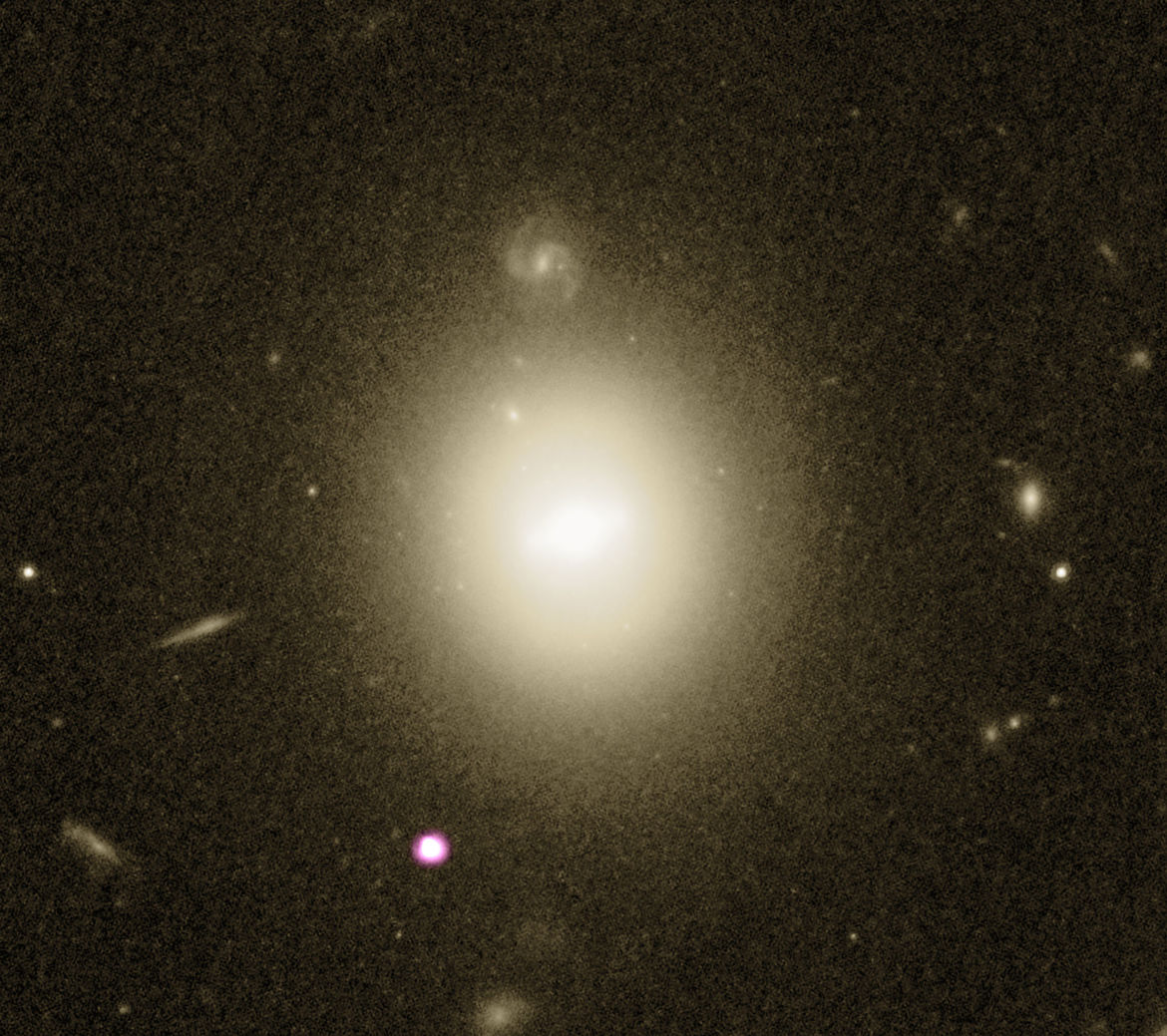 A Hubble observation of the galaxy 6dFGS gJ215022.2-055059 (the large fuzzy object centered) from 2003 showed a blob, likely a star cluster or core of another galaxy, near its own core.