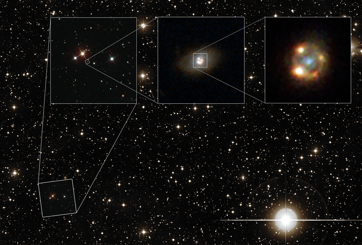 Zooming in on a gravitationally lensed supernova: The sky around the galaxy (background), the field immediately around the galaxy (left inset), the galaxy itself (middle inset), and the lensed galaxy and supernova (right inset).
