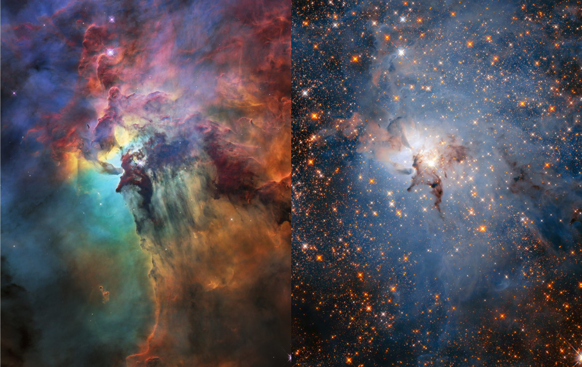 A side-by-side comparison of the Lagoon Nebula in visible light (left) and infrared (right), both using Hubble Space Telescope. NASA, ESA, STScI