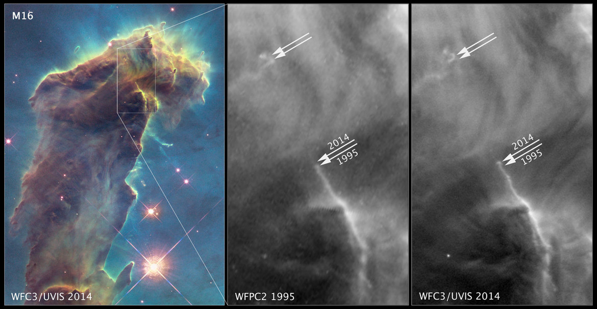 In this detail of the Eagle Nebula, you can see changes in the gas and dust over the 19 years between Hubble observations. Credit: NASA, ESA/Hubble and the Hubble Heritage Team (STScI/AURA)