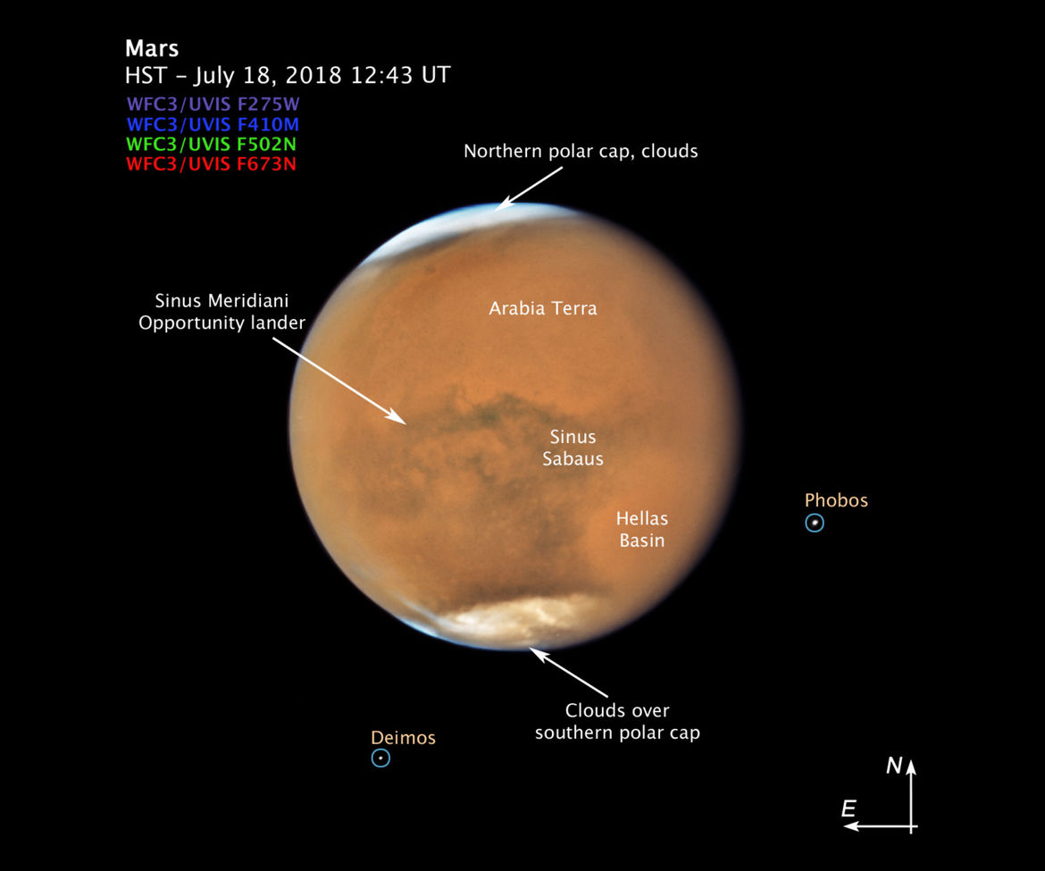 Features on Mars and its two moons, labeled for your convenience. Credit: NASA, ESA, and STScI