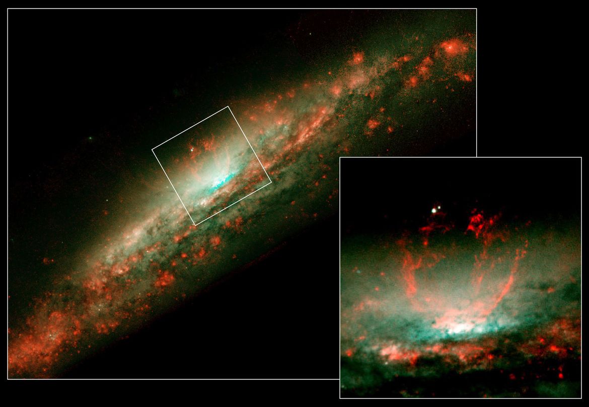 Images in optical light using Hubble show superbubbles in the center of the galaxy NGC 3079 looking more like flames erupting outward, but this is just tracing the optical gas. X-ray observations are needed to show their true nature.