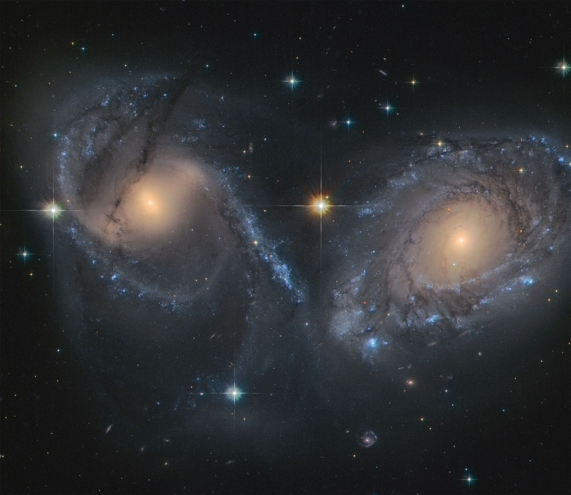 NGC 6769 (right) and 6770 (left) are two spiral galaxies on their way to a massive collision. Credit: NASA/ESA/ESO/Judy Schmidt