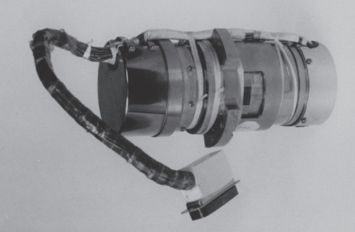 A Hubble Rate Sensor Assembly, which contains one gyroscope. Two of these go into a Rate Sensor Unit box, and there are three of those on Hubble. The cylinder shown is about 18 cm long. Credit: NASA