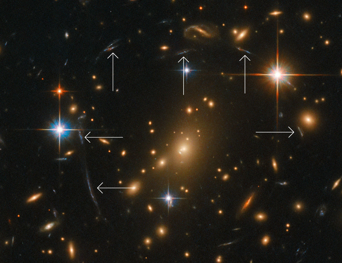 Detail of the Hubble image of the galaxy cluster RXC J0142.9+4438 shows several distorted galaxy images due to gravitational lensing. Credit: ESA/Hubble & NASA, RELICS