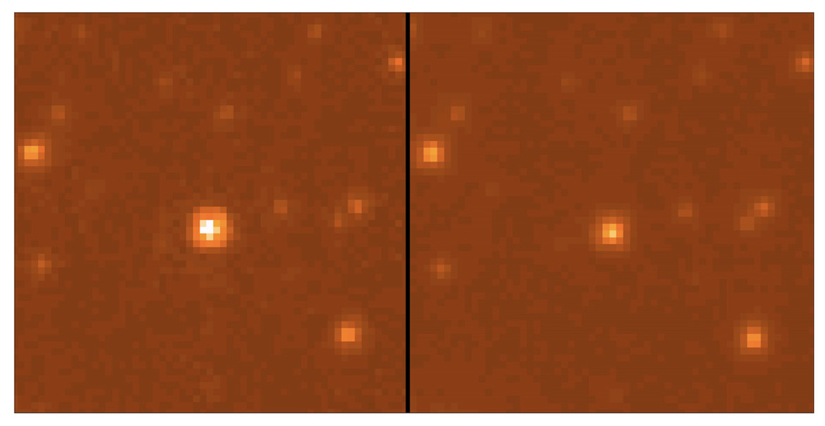 Hubble images of the lensing event in 2007 (left) when it was fading, and a few months later (right) in 2008 when the event was over. Credit: Bennett et al.