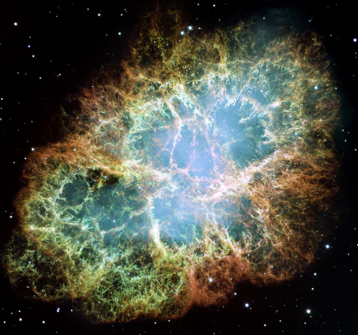 M 1, the Crab Nebula supernova remnant, observed by Hubble Space Telescope. Credit: NASA, ESA, J. Hester and A. Loll (Arizona State University)