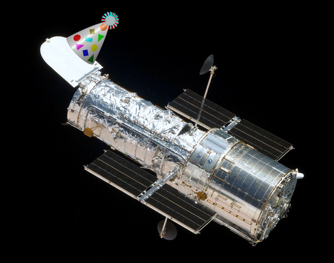 Happy anniversary, Hubble! Credit: NASA / mi_brami, Open Clip Art Library