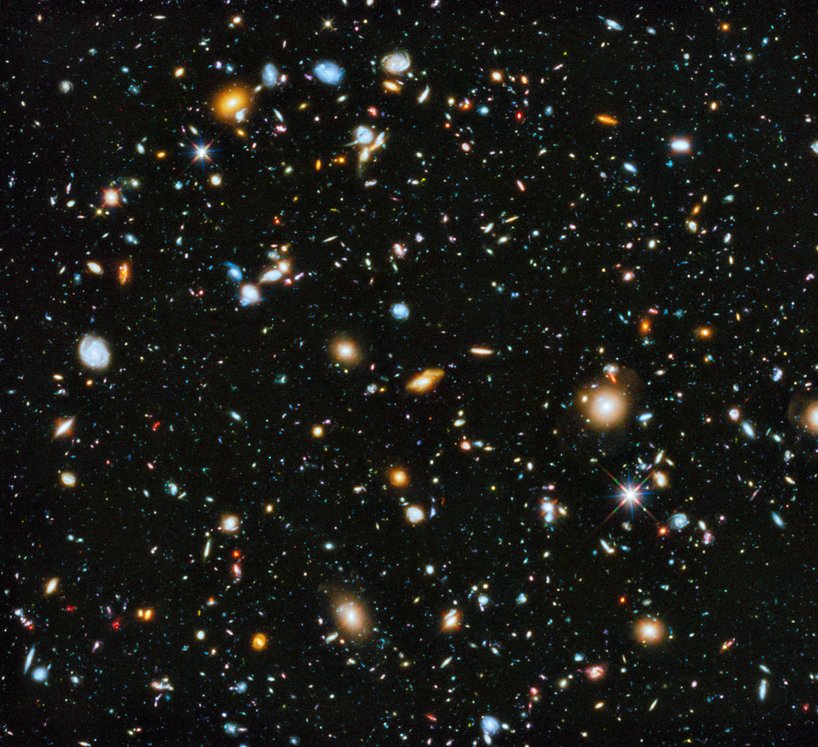 This is the Hubble Ultra Deep Field, and almost everything you see in it is a distant galaxy, billions of light years away. Credit NASA, ESA, H. Teplitz and M. Rafelski (IPAC/Caltech), A. Koekemoer (STScI), R. Windhorst (Arizona State University), and Z.