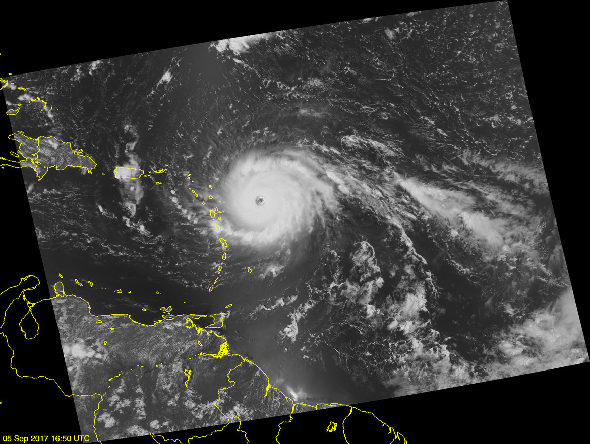 A satellite view of Hurricane Irma heading west toward Puerto Rico on September 5, 2017. Credit: JPSS EDR Team / Ryan Smith / NOAA