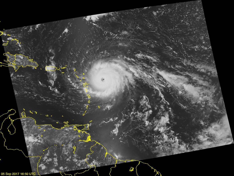 A satellite view of Hurricane Irma heading west toward Puerto Rico on September 5, 2017. Credit: JPSS EDR Team / Ryan Smith / NOAA