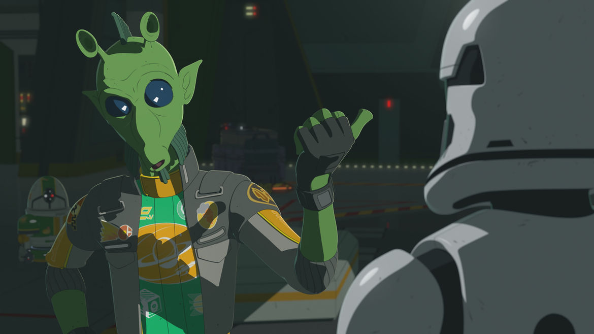 Hype Faizon speaking to a storm trooper on Star Wars Resistance