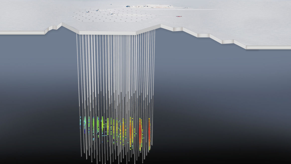 A diagram showing the IceCube detection of the neutrino in context with the location of the detectors buried in the ice deep beneath the surface of Antarctica. Credit: The IceCube Collaboration/NSF