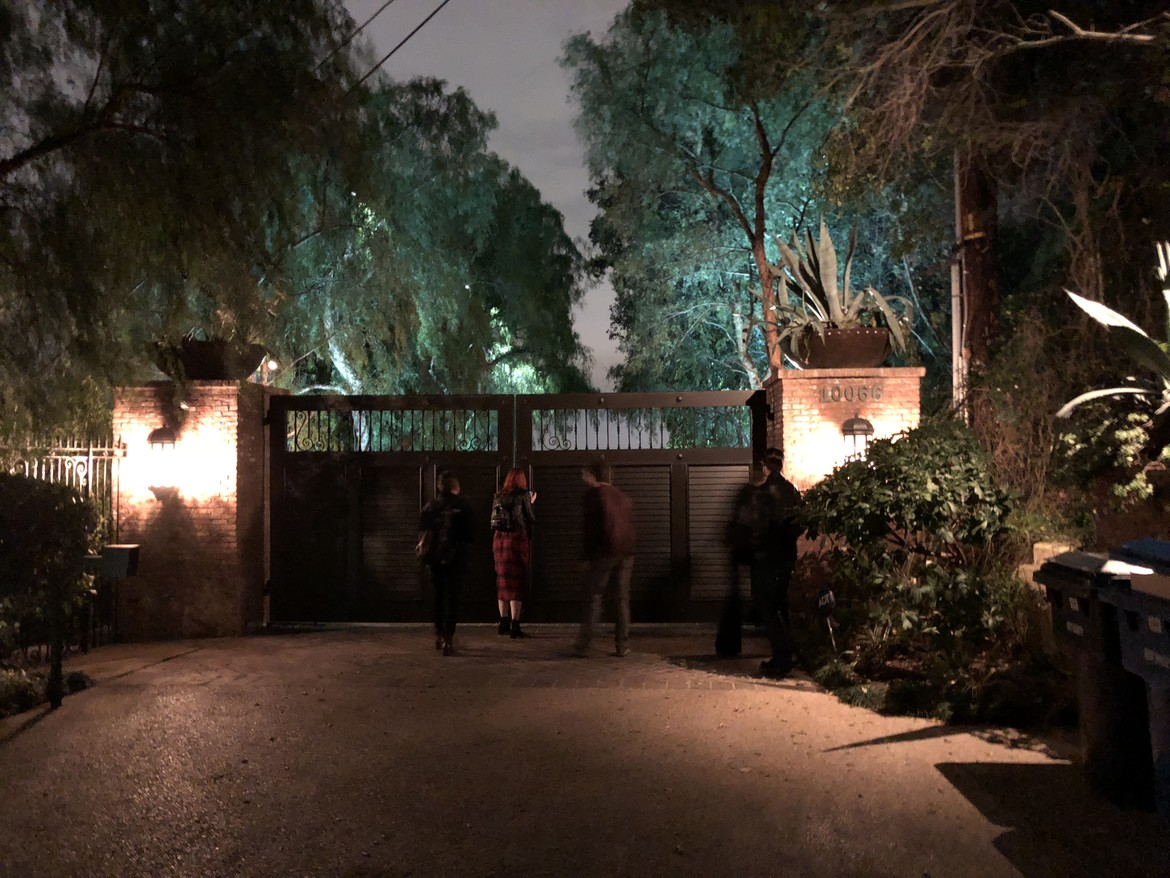 The gates of the Tate House on Cielo Drive
