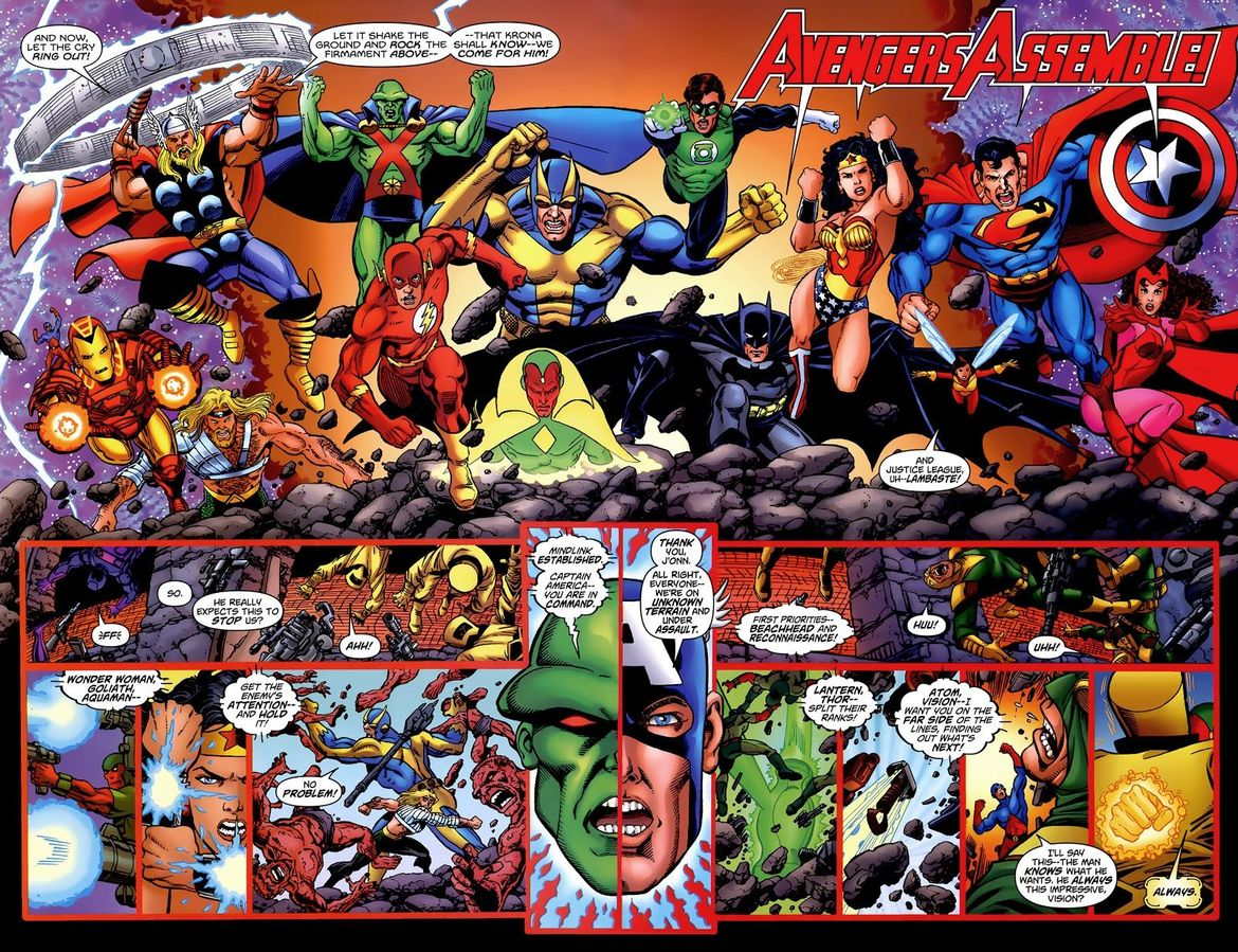 JLA/Avengers #4 (Written by Kurt Busiek, Art by George Perez)