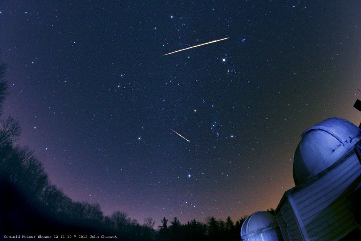 Three Geminid meteors from the 20102 shower. Credit: John Chumack
