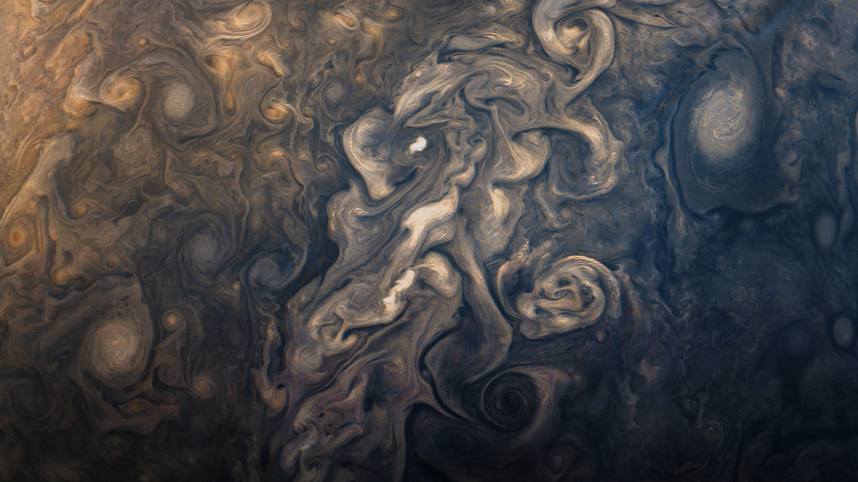 Turbulence in Jupiter's atmosphere, seen by the Juno spacecraft in September 2017. Credit: NASA / SwRI / MSSS / Gerald Eichstädt / Seán Doran