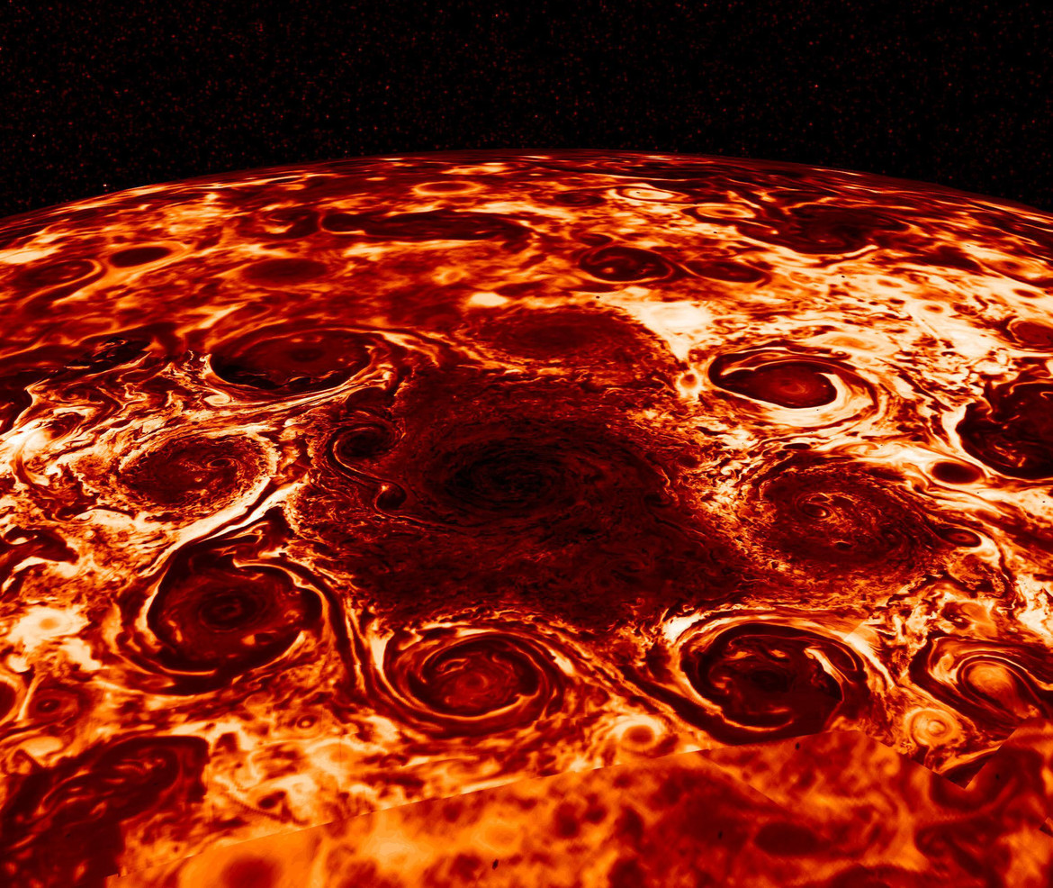Juno thermal infrared data of Jupiter's north pole (brighter = warmer) shows eight cyclones swirling around a central cyclone. Credit: NASA/JPL-Caltech/SwRI/ASI/INAF/JIRAM