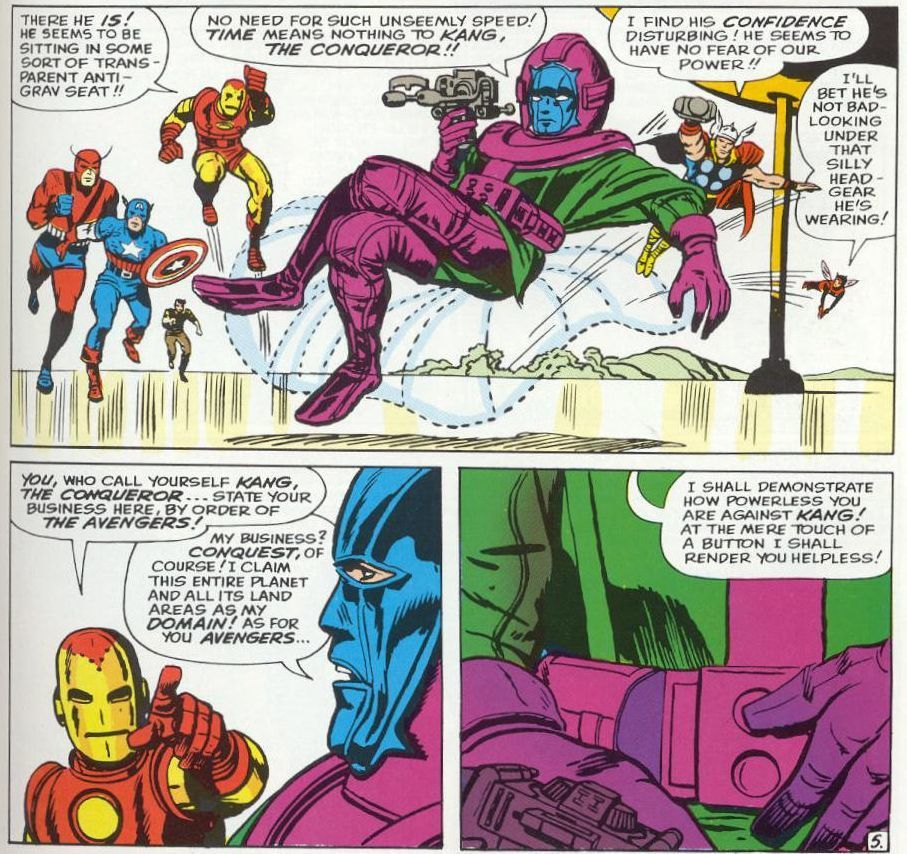 Kang's first appearance in The Avengers #8 by Stan Lee and Jack Kirby