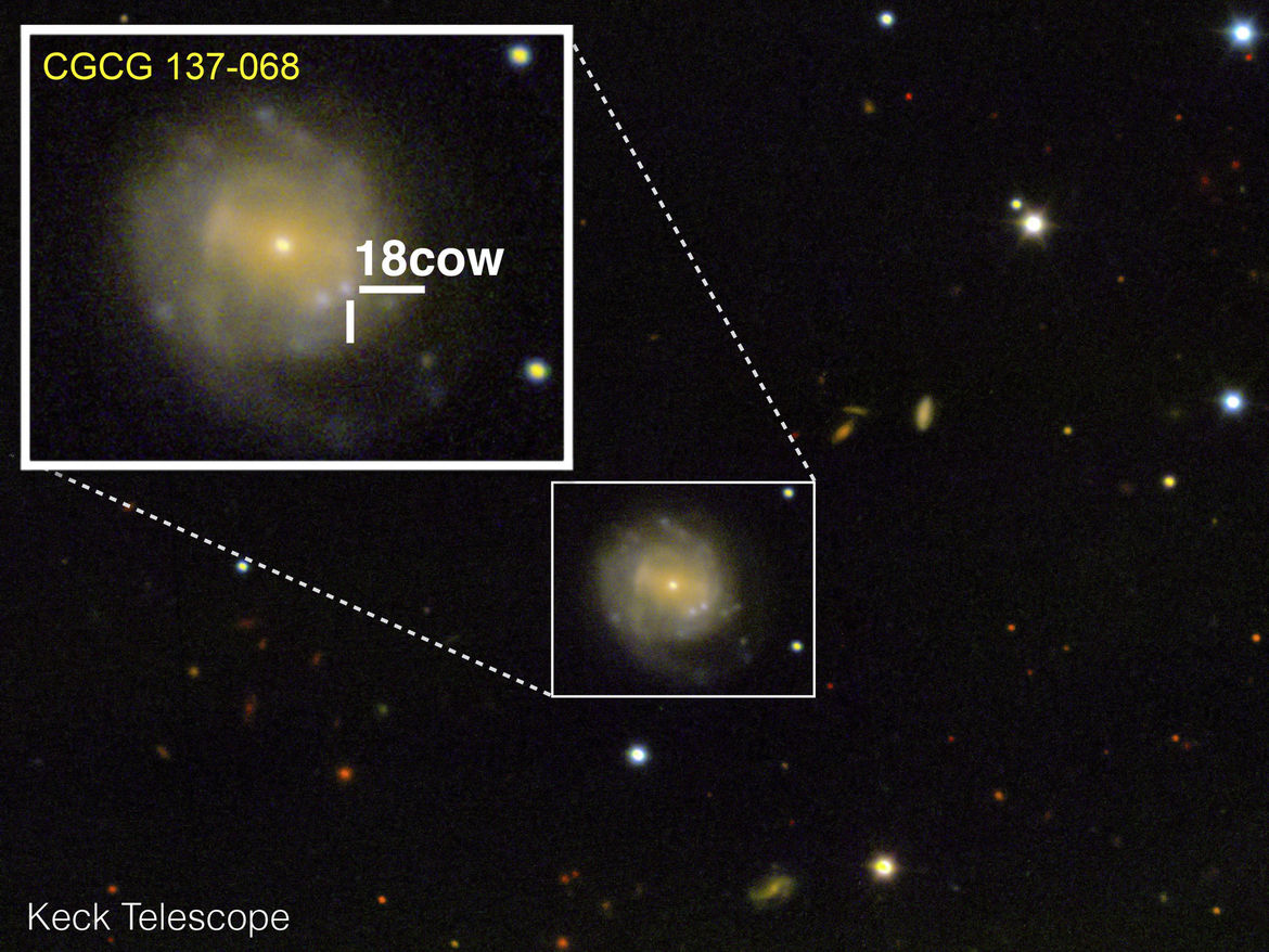 Using the giant Keck 10-meter telescope on August 17, 2018, 2018cow can be seen off-center in the spiral galaxy CGCG 137-068. Credit: Raffaella Margutti/Northwestern University