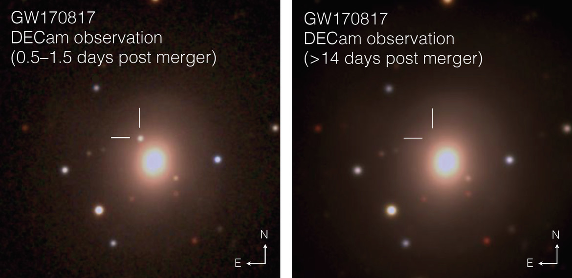 The Dark Energy Camera captured GW170817 mere hours after the event, then again two weeks later, by which time it had faded to invisibility. Credit: M. Soares-Santos, D. E. Holz, J. Annis