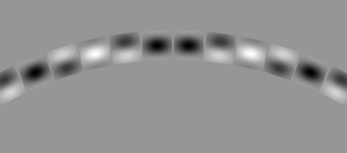 A close-up of one part of the circle shows how the Gabor patches distort the shape of the overall structure.