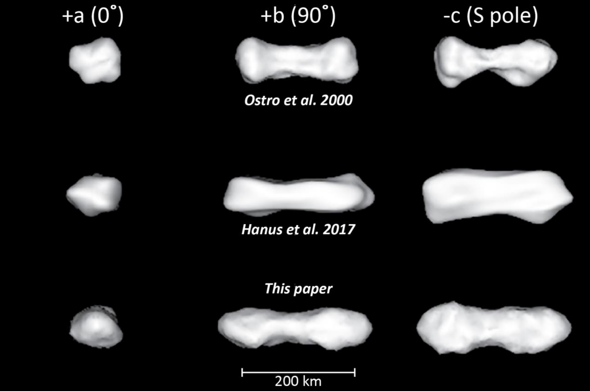 Comparison of three models of Kleopatra's shape. The original (top) is the iconic dog bone, a better model (middle) is much flatter, and the most recent (bottom) is flatter than the original but still pinched in the middle. Credit: Shepard et al.