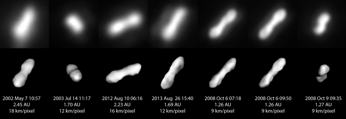 Older high resolution images of Kleopatra (top) are compared to the predicted orientation of the asteroid using the new model. The numbers are the date of the observation, the distance in AU (1 AU = 150 million km), and the resolution of the observation.
