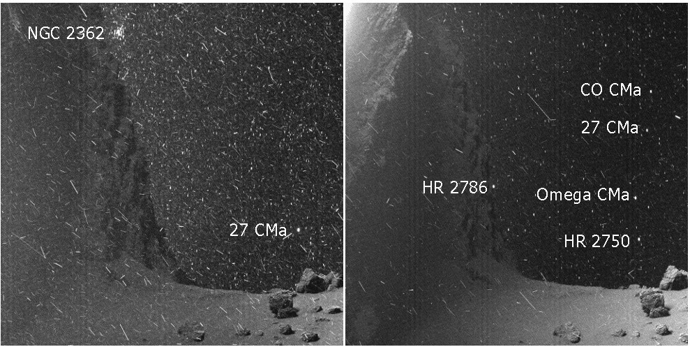 Closeup of images taken of the comet 67/P Churyumov-Gerasimenko show stars in the background. Credit: ESA/Rosetta/MPS for OSIRIS Team MPS/UPD/LAM/IAA/SSO/INTA/UPM/DASP/IDA (processed by Twitter user landru79, annotation by Phil Plait)