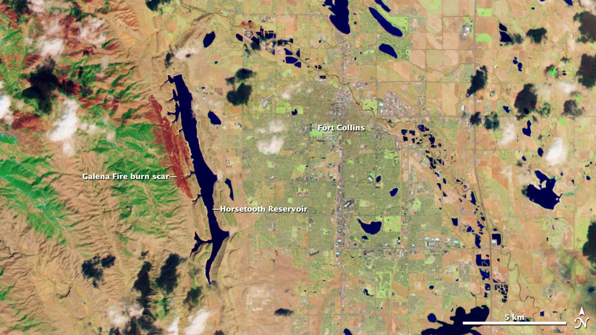 Just north of Boulder is Ft. Collins, Colorado, the scene of a recent wildfire. Credit:USGS/NASA Earth Observatory