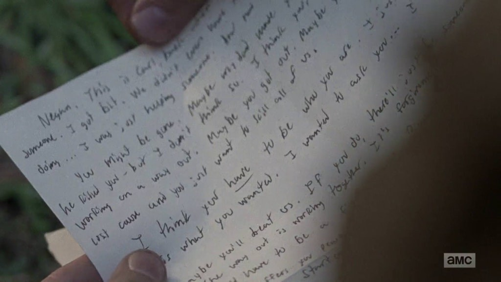 The Walking Dead Negan Letter