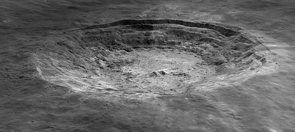 The 40-km-wide Aristarchus crater on the Moon, seen at an oblique angle by the Lunar Reconnaissance Orbiter. Credit: NASA/GSFC/Arizona State University