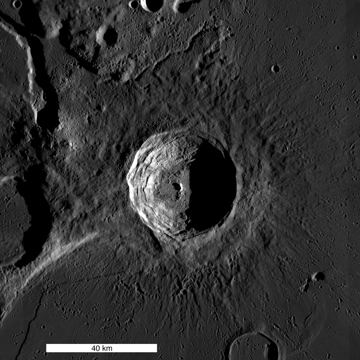 Looking straight down on Aristarchus crater on the Moon. Credit: NASA/GSFC/Arizona State University