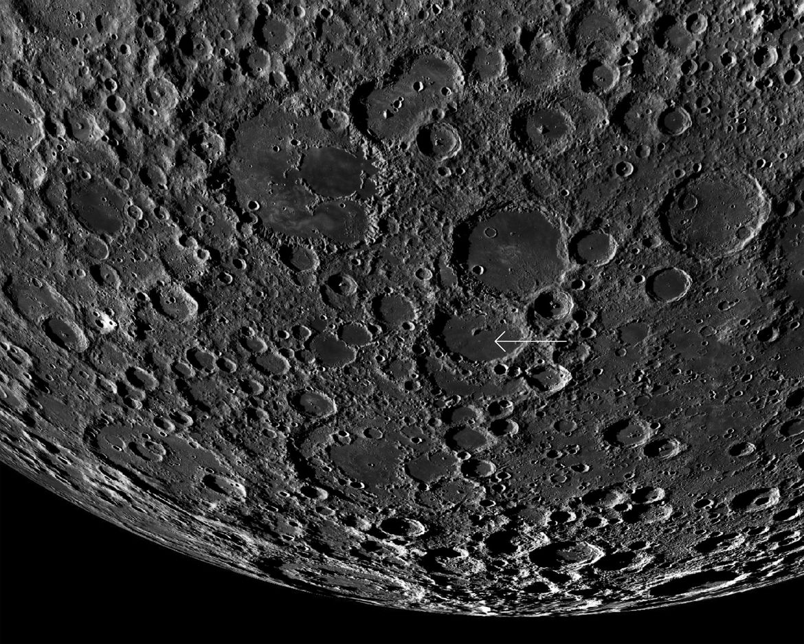 The landing site of Change'e 4 (arrowed) is on the far side of the Moon, in a crater called von Kármán. Credit: LROC/U. Arizona
